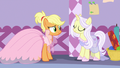 Applejack and Lily Lace smiling together S7E9.png