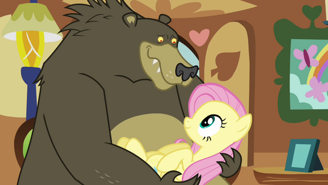 File:Grizzly bear holding Fluttershy S03E13.png