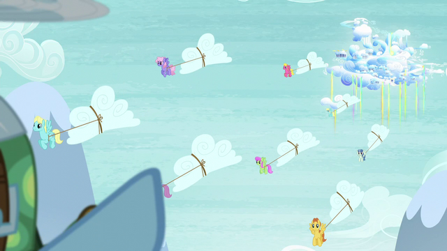 File:Pegasi bringing the snow clouds down from Cloudsdale S5E5.png