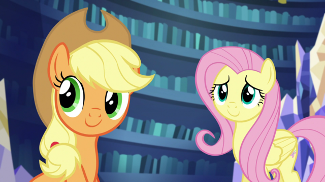 File:AJ and Fluttershy listen to Rarity S5E21.png