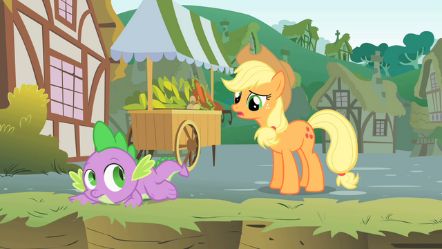 File:Applejack asks why Twilight is in a ditch S1E15.png