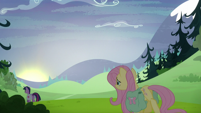 File:Fluttershy slowly follows Twilight as the sun sets S5E23.png