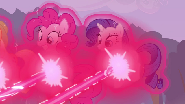 File:Pinkie Pie and Rarity hit by magic beam S4E16.png