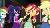 Rainbow, Twilight, Sunset, and AJ look at Fluttershy EGS2