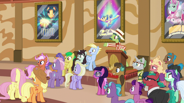 File:Barker pony gesturing to Gladmane's statue S6E20.png