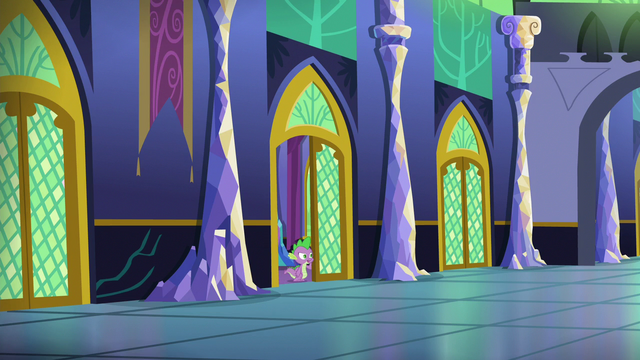 File:Spike looking for Applejack, Rarity, and Pinkie S6E22.png
