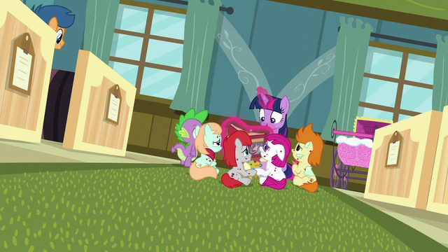 File:Twilight Sparkle still reading to sick foals S7E3.png