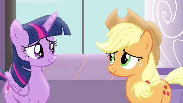 File:Twilight talking to Applejack S4E01.png