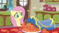 Fluttershy looking at squashed gelatin S6E11.png