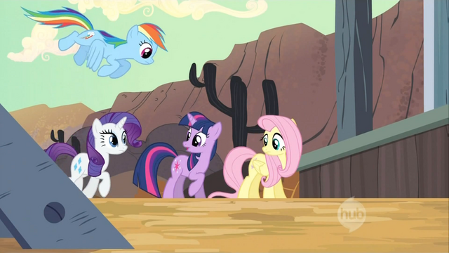 File:Twilight, Rainbow Dash, Fluttershy, and Rarity leaving the train S2E14.png