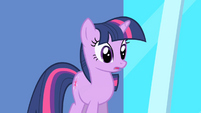 Twilight startled by Celestia's reply S1E01