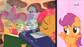 Babs Seed blows book dust at the CMC's faces while Scootaloo sings S3E4.png