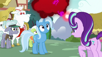 Trixie looks at Starlight's cloud of anger S7E2