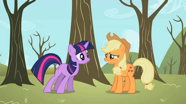 File:Applejack suppressing laughter S2E10.png