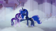 Princess Luna putting a hoof on Starlight Glimmer S6E25