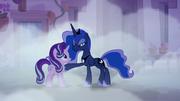 Princess Luna putting a hoof on Starlight Glimmer S6E25