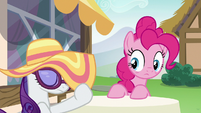 Rarity lowers her sun hat over her eyes S6E21