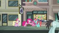 Pinkie Pie accosting Ruby Pinch S6E3