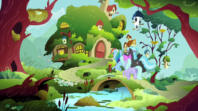 File:Rainbow Dash and Pegasi going to Fluttershy's cottage S4E16.png