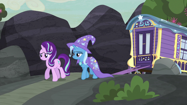 File:Starlight and Trixie walking toward the village S6E25.png