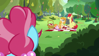 Bright Mac and Pear Butter blush at each other S7E13