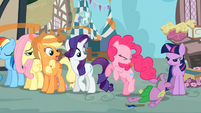 Pinkie Pie blow a raspberry at Spike S3E4