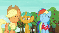 AJ and Rainbow nod at Fluttershy and Pinkie S6E18