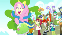 Fluttershy and students cheer excitedly SS4