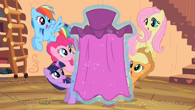 File:Main 5 ponies watching Rarity's dress in awe S2E10.png