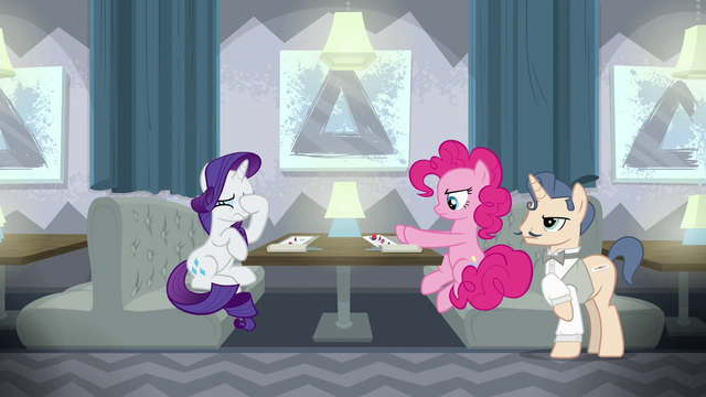 File:Pinkie pushing her plate away; Rarity face-hoofs S6E12.png
