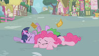 Twilight, Pinkie, and Spike on the ground S1E03