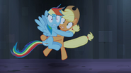 Rainbow Dash hugging Applejack S4E3