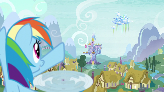 File:Rainbow points to Cloudsdale S5E5.png