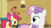 Sweetie Belle looking back at Apple Bloom S2E23
