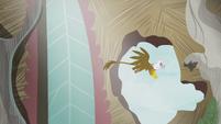 Gilda flying through a hole on the wall S5E8