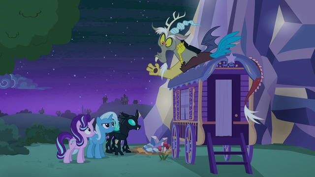 File:Starlight, Trixie, Thorax, and Discord back at Trixie's wagon S6E25.png