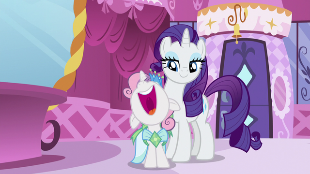 "File:Sweetie Belle shouting ""we're plus-ones!"" S5E7.png"