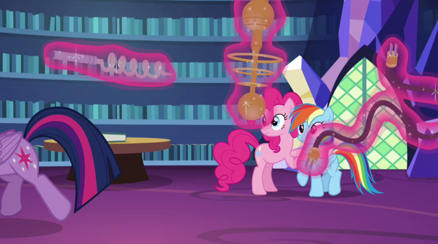 File:Twilight trots past Pinkie and Rainbow EG2.png