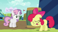 Apple Bloom puts her hoof on her face S5E17