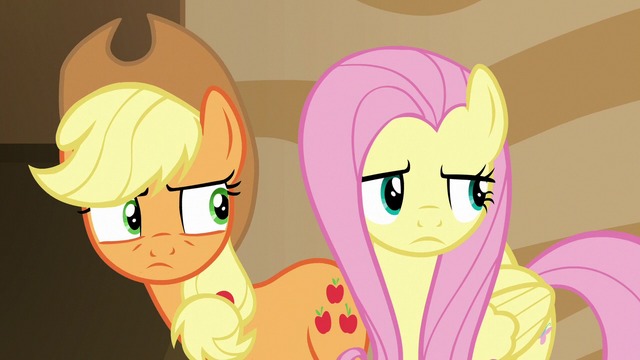 File:Applejack and Fluttershy look at the source of the voice.png
