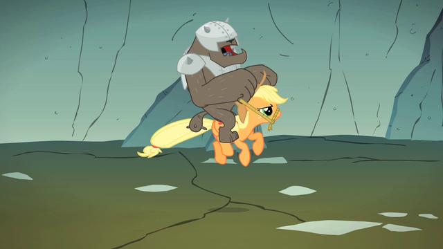 File:Diamond Dog riding Applejack S1E19.png