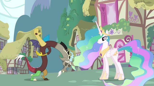 File:Discord bows to Princess Celestia S03E10.png