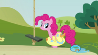 Pinkie Pie taking off floater S3E3