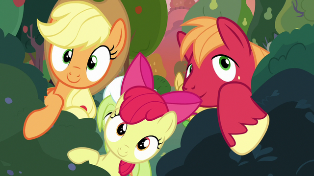 File:AJ, Apple Bloom, and Big Mac moving bushes aside S7E13.png