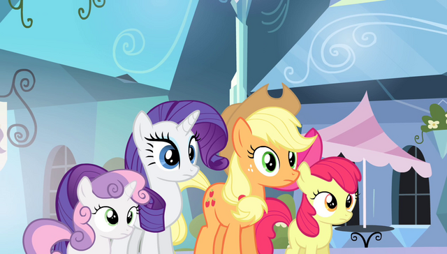 File:AJ, Bloom, Rarity, and Sweetie staring at Spike S4E24.png