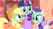 Twilight, Rarity and Applejack with mud masks S1E8