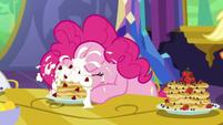 Pinkie Pie eating pancakes messily S5E3