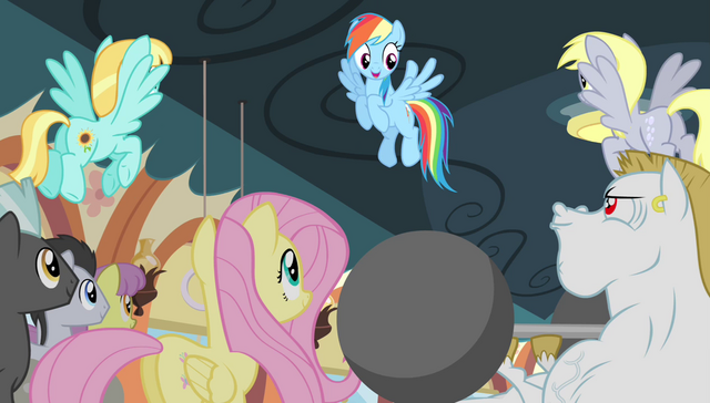 File:Rainbow Dash encouraging the teams S4E24.png