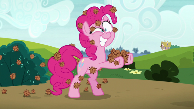 File:Pinkie covered in stingbush seed pods S7E4.png
