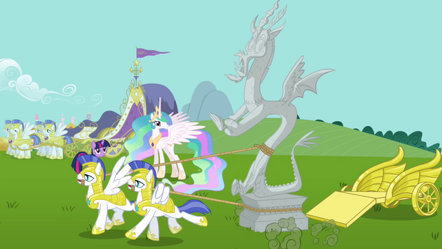 File:Royal guards pull Discord's statue S03E10.png